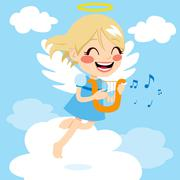 Angel Playing Harp Stock Illustration