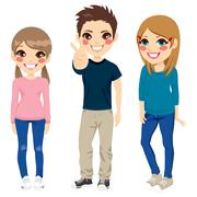 Casual Teenagers Posing Stock Illustration
