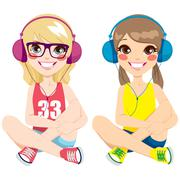 Teenager Girls Listening Music Stock Illustration