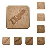 Hand saw wooden buttons Stock Illustration