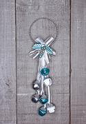 Silver blue christmas decoration on wooden background Stock Photos