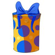 Yellow cylinder gift box with blue bow. Stock Illustration