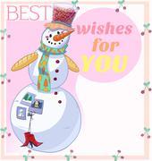 Snowman Best Wishes Stock Illustration
