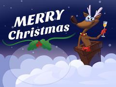 Cartoon Merry Christmas Deer Stock Illustration