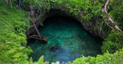 To Sua ocean trench, Upolu, Samoa, South Pacific Stock Footage