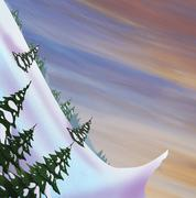 Winter landscape. Snow slide with fir trees. Stock Illustration