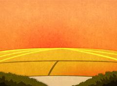 Sunset in the fields. Stock Illustration
