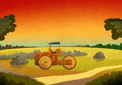 Sunset in the fields with farming vehicle. Stock Illustration