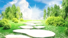 3D illustration beautiful landscape appears at the end of tunnel Stock Footage