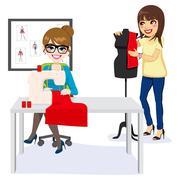 Fashion Designer And Assistant Stock Illustration