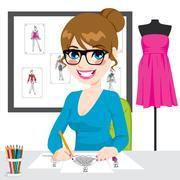 Fashion Designer Drawing Sketches Stock Illustration