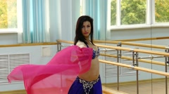 Beautiful woman dancing in arabic costume, oriental or belly dance Stock Footage