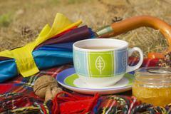 Cup of tea with homey and umbrella at autumn (fall) Stock Photos