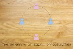 Gender equality and equal opportunities, team of men and women Stock Illustration