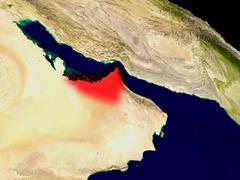 United Arab Emirates from space Stock Illustration