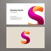 Modern letter s twisted Business card template Stock Illustration