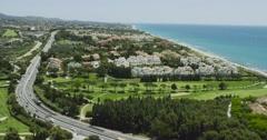 Marbella Aerial Over Beach Town. Spain 2016 4K Stock Footage