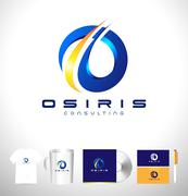 Blue business corporate logo design Letter O Piirros