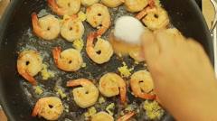 Ramadan recipes celebrating Garlic Shrimp Pasta Recipe Stock Footage