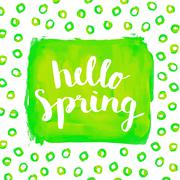 Hello spring phrase hand paint watercolor background Stock Illustration