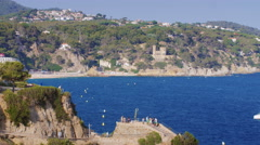Lloret de mar, SPAIN - JUNE 20, 2016: Bay, a popular resort on the Costa Brava Stock Footage