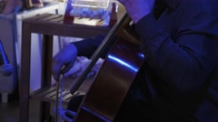 Musician play on contrabass on celebration event. Concert. Lights. Decoration Stock Footage