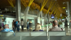 Airport waiting hall Stock Footage