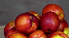 Pile of ripe nectarine fruits. Healthy nutrition. turntable counterclockwise Stock Footage