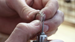 Polishing Claws of Ring Setting Stock Footage