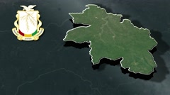 Kankan with Coat Of Arms Animation Map Stock Footage