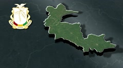 Faranah with Coat Of Arms Animation Map Stock Footage