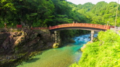 Stationary Timelapse Empty Shinkyo Sacred Bridge Morning Mist Flow Nikko Japan Stock Footage