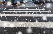 Close up of pedestrian crosswalk on city parking Stock Photos