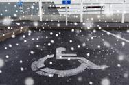 Car parking road sign for disabled outdoors Stock Photos