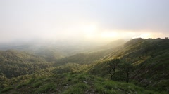 Moving fog mist cloud over the mountain in the forest with sunset in background Stock Footage