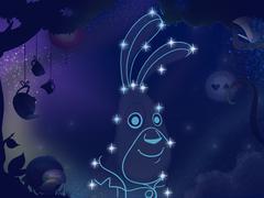 Kids book illustration. Rabbit constellation. Stock Illustration