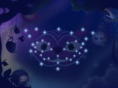 Kids book illustration. Cheshire cat constellation. Stock Illustration