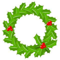 Round holly wreath frame on white Stock Illustration