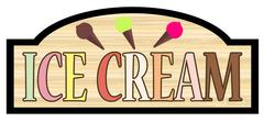 Wooden Store Ice Cream Sign Stock Illustration