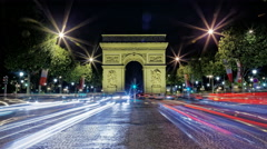 Arch of Arc de Triomphe at night, Paris, France, Traffic time lapse 4K Stock Footage