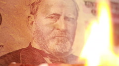 Dollar bill on fire. fire and money. 50 Stock Footage