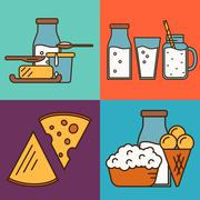 Assortment of dairy products, square composition Stock Illustration