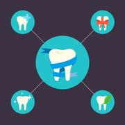 Oral health care and dental hygiene icons Stock Illustration