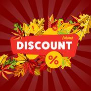 Autumn seasonal sale discount banner. Stock Illustration