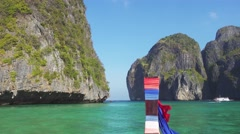 Floating on boat in Maya bay, Phi Phi Leh Stock Footage