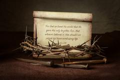 Crown of Thorns and Nails With Scripture Stock Photos
