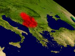 Serbia from space Stock Illustration