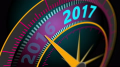 Animation of the virtual speedometer indicates the New Year 2017 Stock Footage