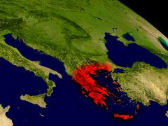 Greece from space Piirros