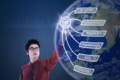 Businessman is pressing globe virtual screen Stock Photos